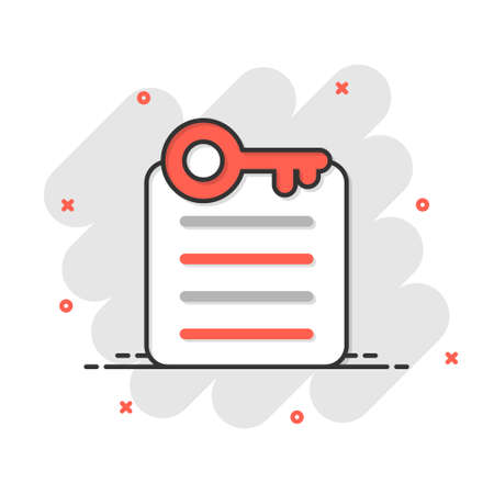 Password account icon in comic style. Keyword cartoon vector illustration on white isolated background. Key combination splash effect business concept. Vector Illustration