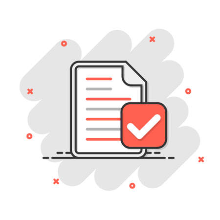 Document accepted icon in comic style. Correct cartoon vector illustration on white isolated background. Check message splash effect business concept. Ilustração