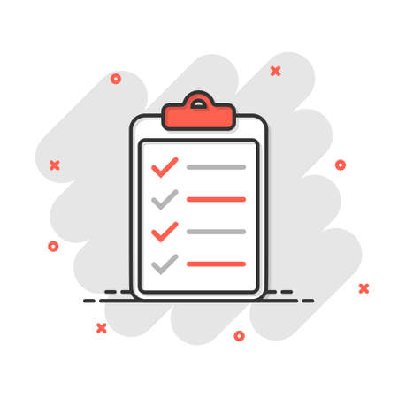To do list icon in comic style. Document checklist cartoon vector illustration on white isolated background. Notepad check mark splash effect business concept.