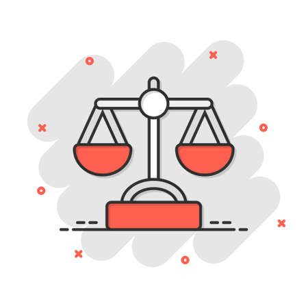 Scale balance icon in comic style. Justice cartoon vector illustration on white isolated background. Judgment splash effect business concept.