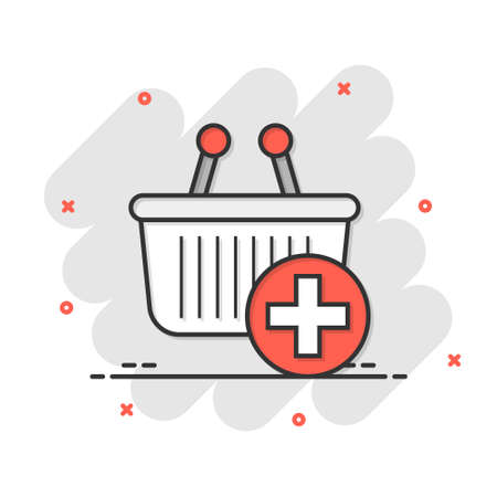 Add to cart icon in comic style. Shopping vector cartoon illustration on white isolated background. Basket with plus sign splash effect business concept. Ilustração