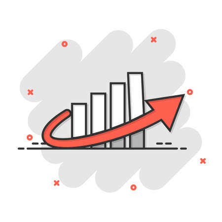 Growth arrow icon in comic style. Revenue cartoon vector illustration on white isolated background. Increase splash effect business concept.