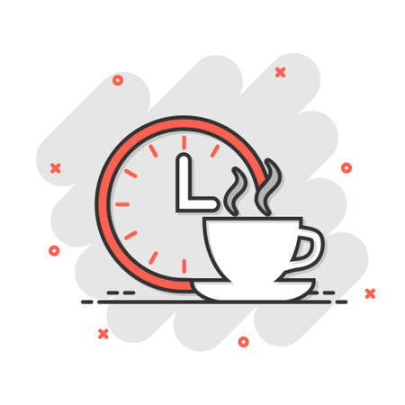 Coffee break icon in comic style. Clock with tea cup cartoon vector illustration on white isolated background. Breakfast time splash effect business concept. Ilustração