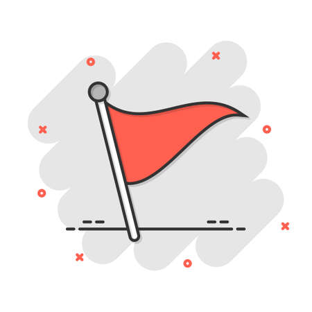 Flag icon in comic style. Pin cartoon vector illustration on white isolated background. Flagpole splash effect business concept.