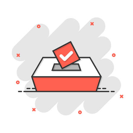 Vote icon in comic style. Ballot box cartoon vector illustration on white isolated background. Election splash effect business concept.
