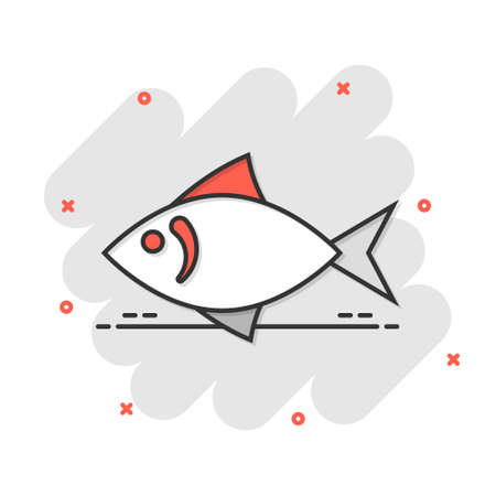 Fish icon in comic style. Seafood cartoon vector illustration on white isolated background. Sea animal splash effect business concept. Ilustração