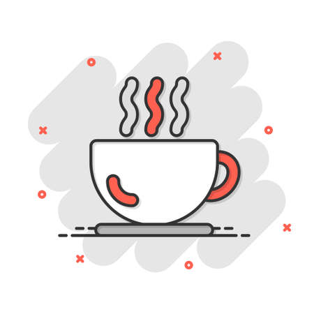 Coffee cup icon in comic style. Hot tea cartoon vector illustration on white isolated background. Drink mug splash effect business concept.