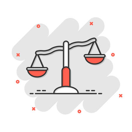 Scale balance icon in comic style. Justice cartoon vector illustration on white isolated background. Judgment splash effect business concept. Vecteurs