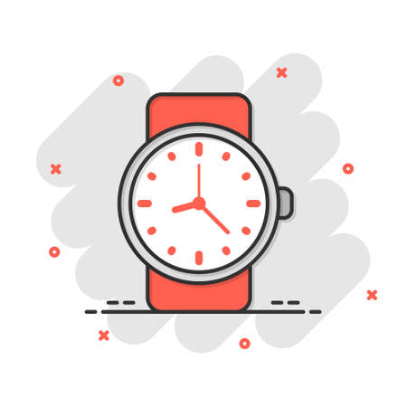 Wrist watch icon in comic style. Hand clock cartoon vector illustration on white isolated background. Time bracelet splash effect business concept. Ilustração