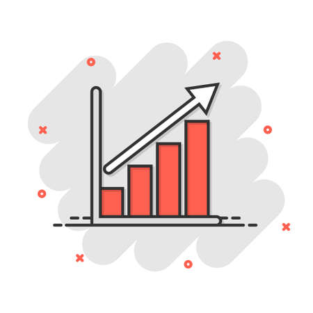 Chart graph icon in comic style. Arrow grow cartoon vector illustration on white isolated background. Analysis splash effect business concept.