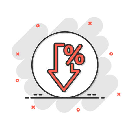 Decline arrow icon in comic style. Decrease cartoon vector illustration on white isolated background. Revenue model splash effect business concept.