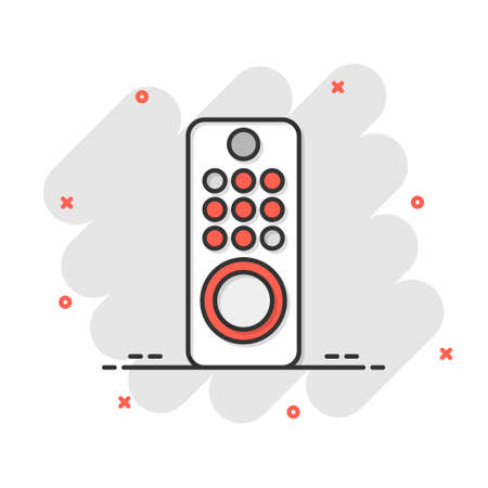 Tv remote icon in comic style. Television cartoon sign vector illustration on white isolated background. Broadcast splash effect business concept.