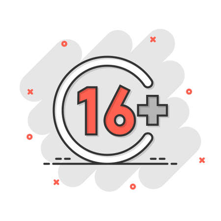 Sixteen plus icon in comic style. 16 cartoon vector illustration on white isolated background. Censored splash effect business concept.