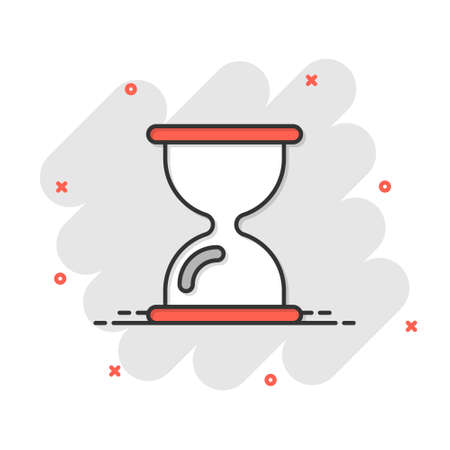 Hourglass icon in comic style. Sandglass cartoon vector illustration on white isolated background. Clock splash effect business concept.