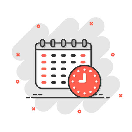 Calendar with clock icon in comic style. Agenda cartoon vector illustration on white isolated background. Schedule time planner splash effect business concept. 矢量图像
