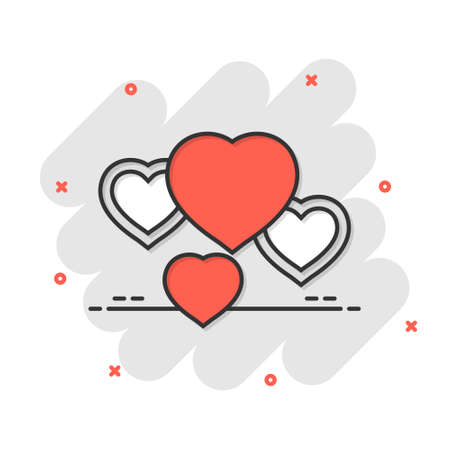 Heart icon in comic style. Love cartoon vector illustration on white isolated background. Romantic splash effect business concept.
