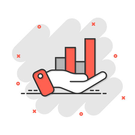 Growth revenue icon in comic style. Diagram with hand cartoon vector illustration on white isolated background. Finance increase splash effect business concept. 矢量图像
