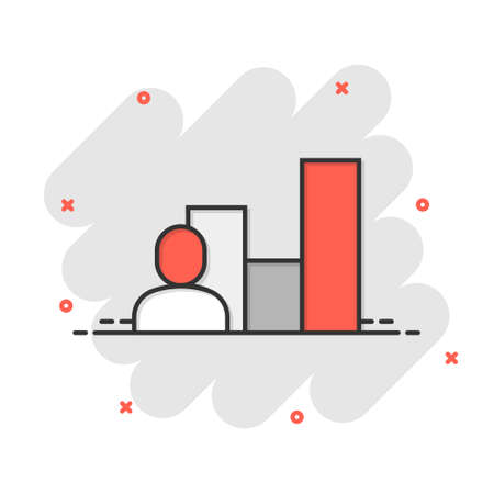 People with growth icon in comic style. Work strategy cartoon vector illustration on white isolated background. Office training splash effect business concept. 矢量图像