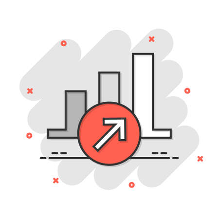 Market trend icon in comic style. Growth arrow with magnifier cartoon vector illustration on white isolated background. Increase splash effect business concept.