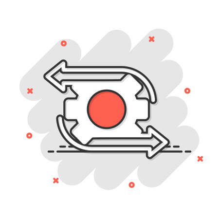 Workflow icon in comic style. Gear effective cartoon vector illustration on white isolated background. Process organization splash effect business concept.