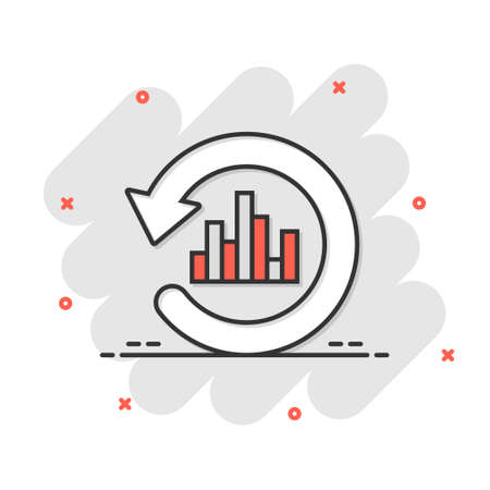 Growing bar graph icon in comic style. Increase arrow cartoon vector illustration on white isolated background. Infographic progress splash effect business concept.