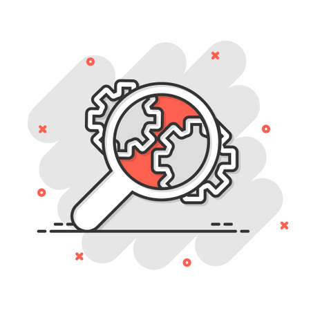 Loupe with gear icon in comic style. Magnifying glass cartoon vector illustration on white isolated background. Seo exploration splash effect business concept.