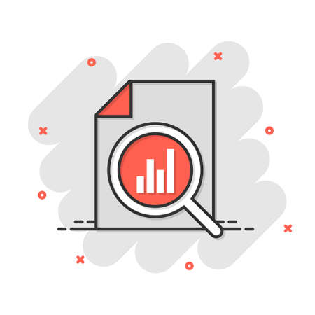 Financial statement icon in comic style. Result cartoon vector illustration on white isolated background. Report splash effect business concept. 矢量图像