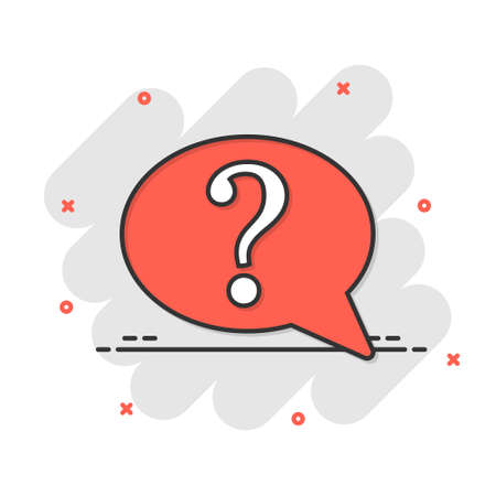 Question mark icon in comic style. Discussion speech bubble cartoon vector illustration on white isolated background. Faq splash effect business concept. 矢量图像