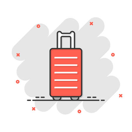 Travel bag icon in comic style. Luggage cartoon vector illustration on white isolated background. Baggage splash effect business concept.