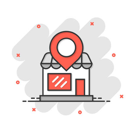 Home pin icon in comic style. House navigation cartoon vector illustration on white isolated background. Locate position splash effect business concept.