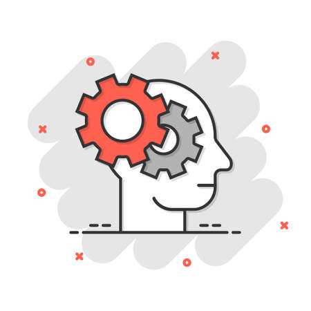 Human head with cogwheel icon in comic style. Technology progress cartoon vector illustration on white isolated background. Face and gear splash effect business concept. Vecteurs