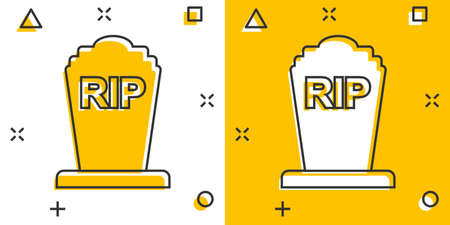 Vector cartoon halloween grave icon in comic style. Gravestone sign illustration pictogram. Rip business splash effect concept. Vektoros illusztráció
