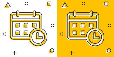 Calendar agenda icon in comic style. Planner vector cartoon illustration pictogram. Calendar business concept splash effect.