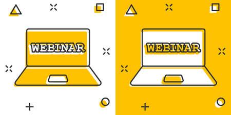 Online training process icon in comic style. Webinar seminar vector cartoon illustration pictogram. E-learning business concept splash effect.