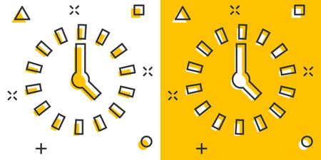 Clock countdown icon in comic style. Time chronometer vector cartoon illustration pictogram. Clock business concept splash effect.