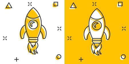 Rocket space ship icon in comic style. Spaceship vector cartoon illustration pictogram. Rocket start business concept splash effect.
