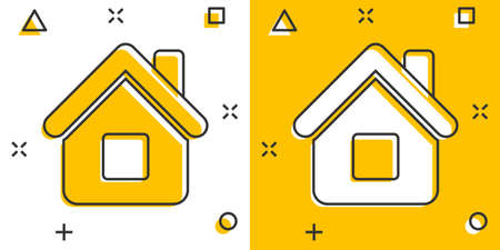 House building icon in comic style. Home apartment vector cartoon illustration pictogram. House dwelling business concept splash effect. 矢量图像