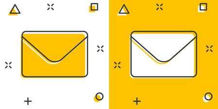 Mail envelope icon in comic style. Receive email letter spam vector cartoon illustration pictogram. Mail communication business concept splash effect. 矢量图像