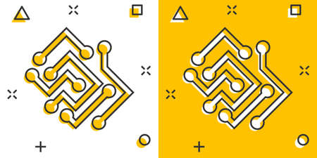 Circuit board icon in comic style. Technology microchip vector cartoon illustration pictogram. Processor motherboard business concept splash effect. 矢量图像