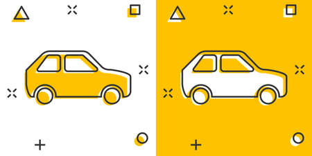 Car icon in comic style. Automobile car vector cartoon illustration pictogram. Auto business concept splash effect. 矢量图像