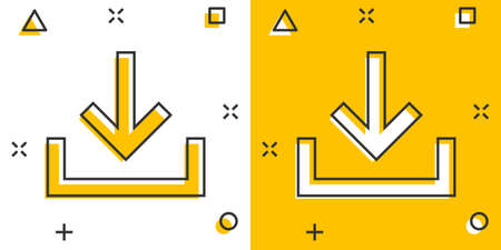 Download file icon in comic style. Arrow down downloading vector cartoon illustration pictogram. Download business concept splash effect. 矢量图像