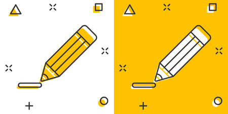 Pencil with rubber eraser icon in comic style. Highlighter vector cartoon illustration pictogram. Pencil business concept splash effect.