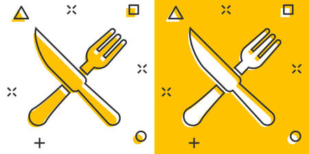 Fork and knife restaurant icon in comic style. Dinner equipment vector cartoon illustration pictogram. Restaurant business concept splash effect.