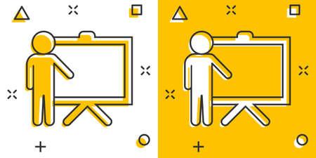 Training education icon in comic style. People seminar vector cartoon illustration pictogram. School classroom lesson business concept splash effect. 矢量图像