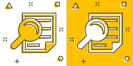 Scrutiny document plan icon in comic style. Review statement vector cartoon illustration pictogram. Document with magnifier loupe business concept splash effect. 矢量图像