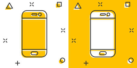 Smartphone icon in comic style. Phone handset vector cartoon illustration pictogram. Smartphone business concept splash effect.