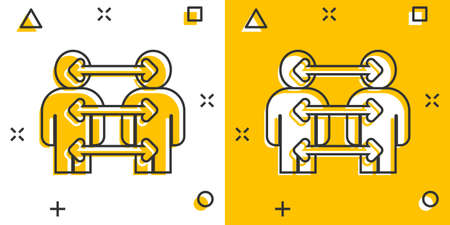 People referral icon in comic style. Business communication cartoon vector illustration on white background. Reference teamwork splash effect business concept.