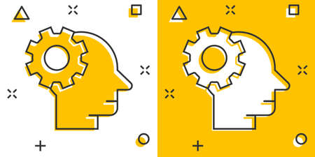 Human head with cogwheel icon in comic style. Technology progress cartoon vector illustration on white isolated background. Face and gear splash effect business concept.