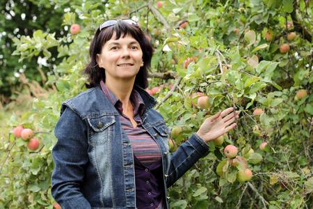 gathers: Ragazza che raccoglie la frutta con la mela
