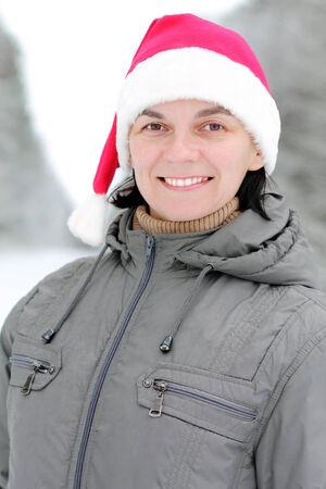 hazel eyes: Man in Santa Claus hat Stock Photo